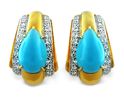 DAVID WEBB Turquoise Diamond Earrings