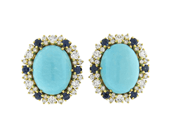 Sapphire, Turquoise Diamond Gold Earrings